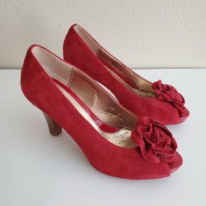 Sofft Red Suede Peep Toe Platform Heels 6.5